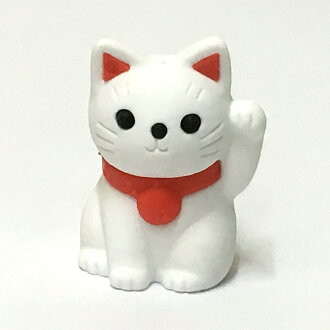 Beckoning cat white mini-size (3.2cm) eraser