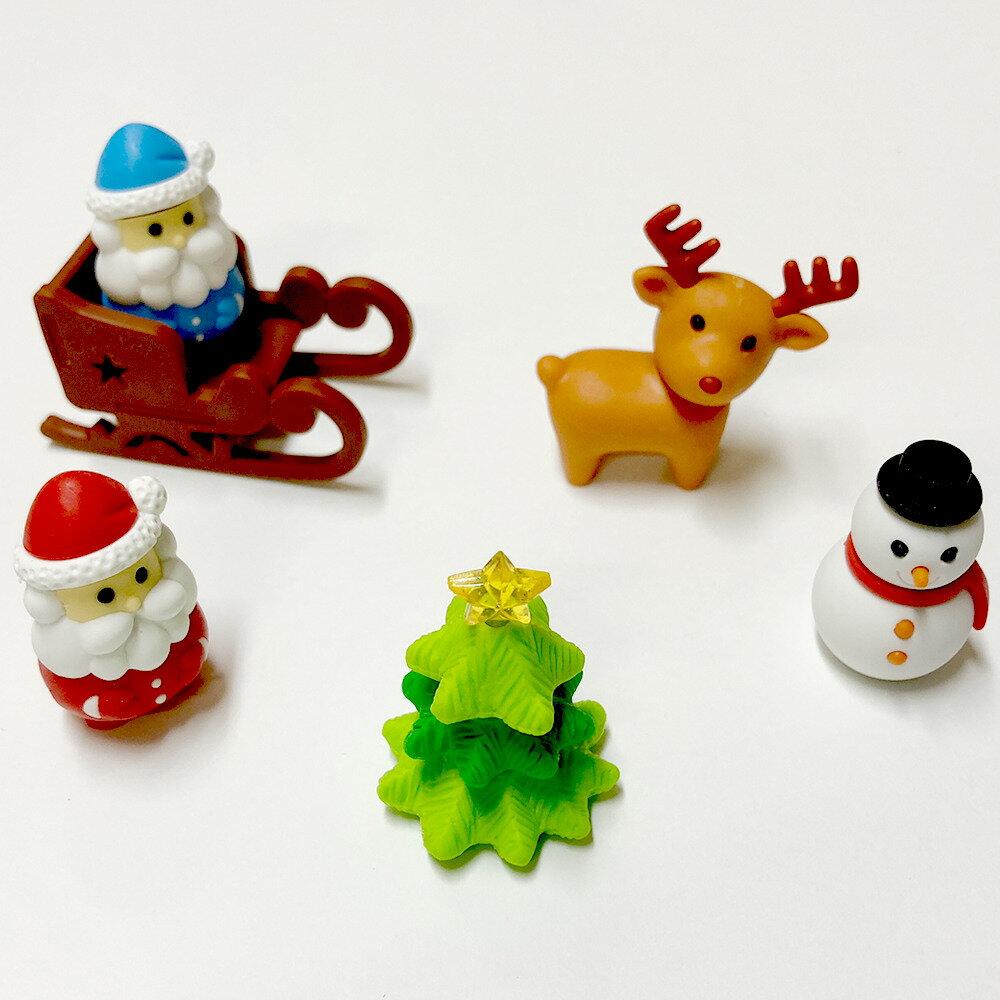 クリスマスを盛り上げるミニフィギュア消しゴム6個セットサンタクロース(赤サンタ・青サンタ)クリスマスツリー・雪だるま・トナカイ・雪そり【クリスマス用品】