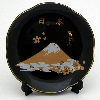 Gold plate  the picture-painted dish cherry tree Fuji