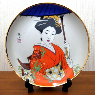 picture-painted dish Japan beautiful woman kimono umbrella