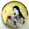 picture-painted dish Japan beautiful woman kimono chrysanthemumvery much