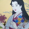 picture-painted dish Japan beautiful woman kimono chrysanthemum