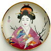 picture-painted dish Japan beautiful woman kimono crane