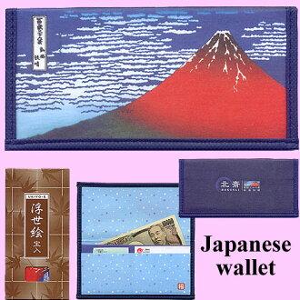 日本浮世绘钱包葛饰北心斋桥红富士