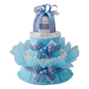 ご出産祝い おむつ | ベビーギフト おむつdeケーキ 二段 | 育児用品 ご出産祝い ブルー | 賞品 景品 |