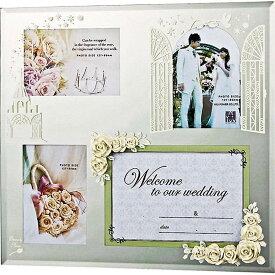 ご愛顧感謝 フォトフレーム ガラス ミラー ご結婚祝い かわいい HF-04011 /エターナリーローズ フォトフレーム 4ウィンドー(ホワイト) 壁掛、卓上両用 HF-04011