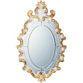 鏡 ミラー おしゃれ かわいい MM-65001 /ムラーノ スタイル ミラー 「モーディカ(ゴールド)」 壁掛用 MM-65001
