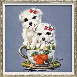 おしゃれでかわいい壁掛け飾り 絵画 お祝い 記念品 OP-07005 /オイル ペイント アート 「ツー パピー イン カップ(Sサイズ)」 壁掛用 OP-07005