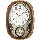 名入れ無料 プレゼント 電波時計 掛け時計 | リズム時計 名入れプレート付き 電波掛け時計 スモールワールドノエルM NAI4MN513RH23 木…