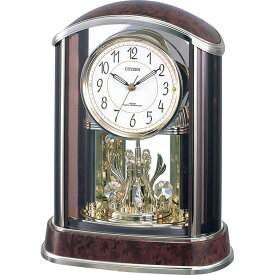 名入れ対応可 電波時計 掛け時計 4RY658-N23 /リズム時計 シチズン 電波置き時計 パルアモールR658N 4RY658-N23 茶色木目仕上(アイボリー)新築祝い 竣工記念 開店祝い 開業祝い