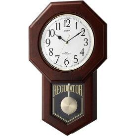 名入れ対応可 電波時計 掛け時計 4MNA06RH06 /リズム時計 シチズン 電波柱時計 モーランドR 4MNA06RH06 茶色半艶仕上(白)新築祝い 竣工記念 開店祝い 開業祝い