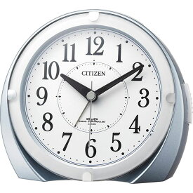 名入れ対応可 電波時計 目覚まし時計 4RL431-N04 /リズム時計 シチズン 電波めざまし時計 ネムリーナマロンF 4RL431-N04 青メタリック色(白)新築祝い 竣工記念 開店祝い 開業祝い