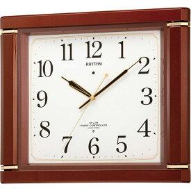 名入れ対応可 電波時計 掛け時計 4MN494RH06 /リズム時計 シチズン 電波掛け時計 ネムリーナM494R 4MN494RH06 茶色メタリック色(白)新築祝い 竣工記念 開店祝い 開業祝い