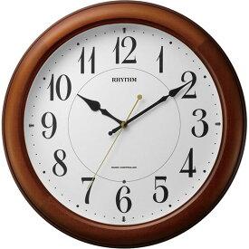 名入れ対応可 電波時計 掛け時計 4MYA25SR06 /Citizen リズム時計 シチズン 電波掛け時計 ピュアライトM25 電波時計 4MYA25SR06 茶色半艶仕上(白)新築祝い 竣工記念 開店祝い 開業祝い