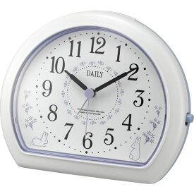 名入れ対応可 目覚まし時計 4SE550DN12 /リズム時計 シチズン めざまし時計 デイリーR550 4SE550DN12 白(紫)新築祝い 竣工記念 開店祝い 開業祝い