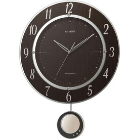 名入れ対応可 電波時計 掛け時計 8MX403SR23 /リズム時計 シチズン 電波振子時計 トライメテオDX 8MX403SR23 木目仕上(茶色)新築祝い 竣工記念 開店祝い 開業祝い
