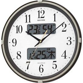 名入れ対応可 電波時計 掛け時計 4FYA07SR06 /リズム時計 RHYTHM 電波掛け時計 リズム フィットウェーブリブ 4FYA07SR06 茶メタリック色(白)新築祝い 竣工記念 開店祝い 開業祝い
