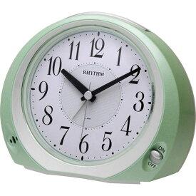 名入れ対応可 目覚まし時計 8REA28SR05 /リズム時計 シチズン めざまし時計 フェイス28 8REA28SR05 緑メタリック色(白)新築祝い 竣工記念 開店祝い 開業祝い