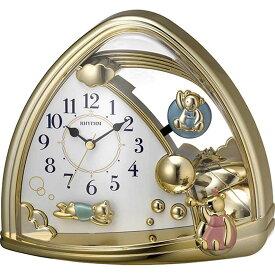 名入れ対応可 インテリアクロック 4SG762SR18 /リズム時計 シチズン 置き時計 ファンタジーランド762SR 4SG762SR18 金色仕上(白)新築祝い 竣工記念 開店祝い 開業祝い