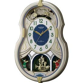 名入れ対応可 電波時計 掛け時計 4MN543RH18 /リズム時計 シチズン 電波掛け時計 スモールワールドカラーズ 4MN543RH18 シャンペンゴールド色(白)新築祝い 竣工記念 開店祝い 開業祝い