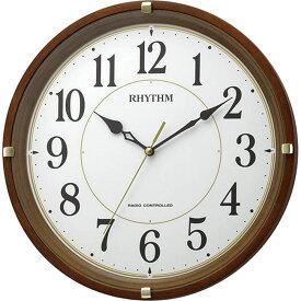 名入れ対応可 電波時計 掛け時計 8MYA32SR06 /リズム時計 シチズン 電波掛け時計 フィットウェーブライキー 8MYA32SR06 茶色半艶仕上(白)新築祝い 竣工記念 開店祝い 開業祝い