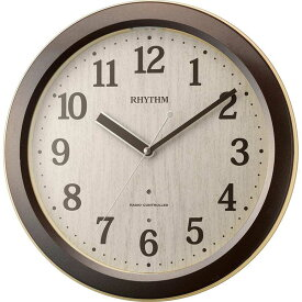 名入れ対応可 電波時計 掛け時計 4MYA33SR06 /リズム時計 シチズン 電波掛け時計 ピュアライトM33 4MYA33SR06 茶メタリック色(薄茶)新築祝い 竣工記念 開店祝い 開業祝い