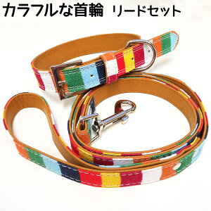 【リード付き首輪】リード付き 犬 首輪 カラフル かわいい 犬首輪 小型犬 中型犬 名入れ オリジナルペット 愛犬 犬グッズ ペット用品 ペットへのプレゼントにおすすめ