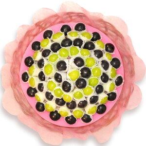 """[ギフトパーク]ぶどう ギフトセット""""ハッピーぶどうバスケット""""オシャレなブドウの詰め合わせ 種なしの黒ぶどうと緑ぶどう約70粒をお花のように盛り合わせた驚きのフルーツギフト(果物"""