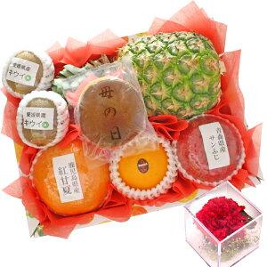【ギフトパーク】【2021年 母の日 ギフト】母の日どら焼きとフルーツセット(S) 母の日限定カーネーションプリザーブドフラワー付きフルーツギフト 果物 詰め合わせ