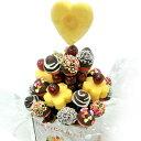 [ギフトパーク]チョコいちごブーケ大 約2〜3人前 約29本 ハッピーカラフルーツ チョコフォンデュカットフルーツフラワ…
