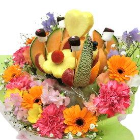 [ギフトパーク]カットフルーツ盛合わせ【ノア花プラス】生花付きフルーツフラワーアレンジメント フルーツブーケ メロン フルーツギフト サプライズプレゼント 結婚記念日 誕生日 フルーツケーキ インスタ映えスイーツ 母の日 hp