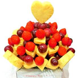 [ギフトパーク]果物 詰め合わせ【いちごのハートブーケ】フルーツフラワーギフト カットフルーツ盛合せ サプライズプレゼント 結婚記念日 結婚内祝い 誕生日 いちごケーキより面白い珍しい喜ばれる 贈り物 スイーツ インスタ映え フルーツケーキ 母の日