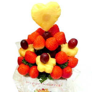 [ギフトパーク]果物 イチゴ 詰め合わせ【いちごブーケ 大】フルーツフラワーギフト カットフルーツ盛合せ サプライズプレゼント 結婚記念日 結婚内祝い 誕生日 いちごケーキより面白い珍