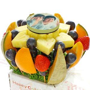 [ギフトパーク]パーティーグッズ 写真ケーキ【ミニフォトハッピーカラフルーツ】フルーツフラワーアレンジメント 写真プリントケーキより面白いスイーツ フォトケーキ フルーツケーキ サ