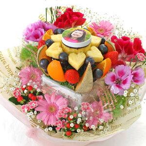 [ギフトパーク]パーティーグッズ 写真ケーキ【ミニフォト花プラス】生花付きフルーツフラワーアレンジメント 写真プリントケーキ 面白いスイーツ フォトケーキ フルーツケーキ 母の日 サ