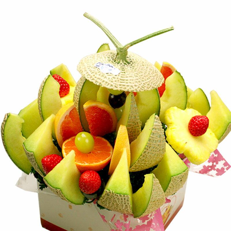[ギフトパーク]フルーツケーキ【静岡マスクメロンブーケ】クラウンメロンかアローマメロン使用 誕生日ケーキより珍しいフルーツフラワー サプライズプレゼント 誕生日 プレゼント フルーツブーケ バースデーケーキ 果物詰合せ フルーツギフト メロンケーキ 送料無料