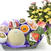 旬の果物詰め合わせお供え用【へ】生花2束付きメロン入り御供え果物通販お取り寄せフルーツセット