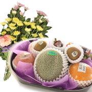 旬の果物詰め合わせお供え用【に】生花2束付きメロン入り御供え果物通販お取り寄せフルーツセット