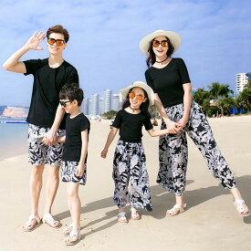 サラダキッズ 韓国親子ペアルック ビーチ 2点上下セット セットアップ Tシャツ 半袖 パンツ ハワイアン 海旅行 リゾート 夏 パパ ママ 男の子 女の子 父 母 息子 娘 ファミリー服 親子お揃い服 親子服 りえPのおすすめ 大人用 ec18-170 送料無料