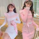 DreamSwing レディース 白 ピンク ニットワンピース ホワイト 萌え萌え 可愛い DS473 秋冬 乙女系 姫系 れ…