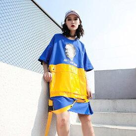 「ELFsSack 」DDF10 夏 tシャツワンピース レディース 半袖 ヒップホップ ファッション bf風 ダンス衣装 個性 ポケットトップス ゆったり