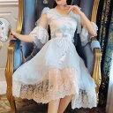 「FairyTailor」姫系盛り袖シフォンワンピース 水色 チュール レディースファッション 肩リボン付き 萌え萌え お嬢様 …