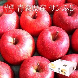 青森県産りんご サンふじ 秀 12玉(約3kg) [送料無料 高品質 堅め 果汁多い 大玉 リンゴ 流通用通し箱]
