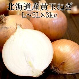 北海道北見産黄玉ねぎ L〜2Lx3kg [国産たまねぎ 野菜便 常温便 送料無料 使いやすい量]