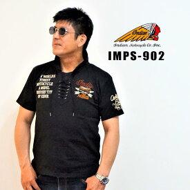 INDIAN インディアン 半袖ポロシャツ インディアンマーク BLACK 黒 IMPS-902 NEW