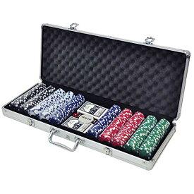 iimono117 ポーカーセット チップ500枚 アルミケース 鍵付き ポーカーチップ トランプ付き カジノゲーム フルセット 本格派 大量 チ