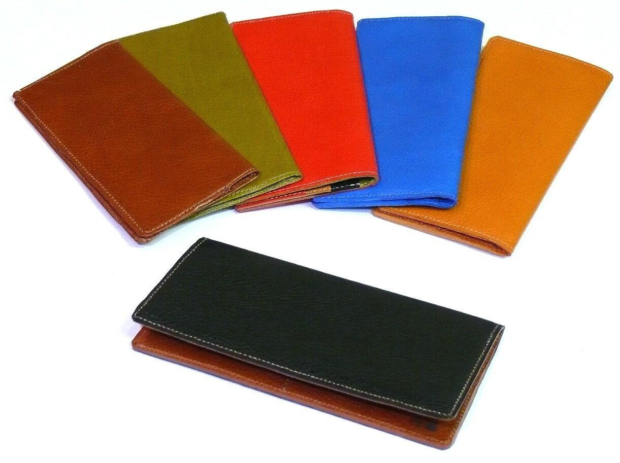薄型 イタリアンレザー 長財布(裏革貼りタイプ)【オーダーメイド:ご希望の革色、糸色で製作致します。