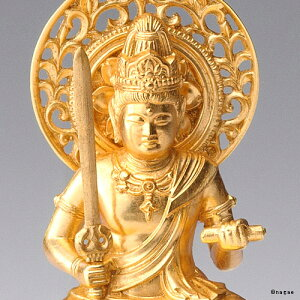 【金箔仕様】文殊菩薩15cm高岡銅器の本格金属仏像うさぎ年生まれのお守り本尊fs3gm