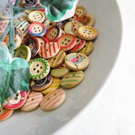 \選べる!かわいい ボタン/ウッド ボタン プリント ミックスアソート≪手芸 ぼたん ボタン 釦≫≪ドット 水玉 フラッグ 花 フラワー ≫