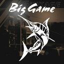 Big Game 釣り ステッカー カジキ ステッカー トロリーング サイズ:20cm×16cm 左向き(白色) 車 ステッカー リアガラス ステッカー 車